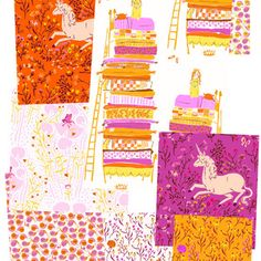 Swatches of gorgeous Heather Ross fabric from the Far Far Away collection for Kokka