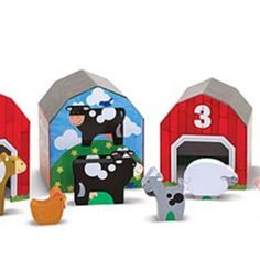 Take six nesting and sorting blocks, add six numbered animals to go inside, and what do you have? A farm full of stacking, counting, hide-and-seek, mix-and-match, imaginative play! This charming play set lets kids build a farm scene filled with bright red barns, with an animal for every barn. Barn Animals, Building For Kids, Melissa & Doug, Red Barns, Outdoor Settings, Imaginative Play, Early Learning, Sorting, Bookends