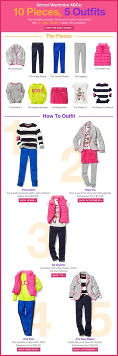 Gap Kids-The Must-Haves Ten Pieces, Five Outfits