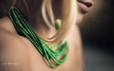 Green wood bead Handmade Necklace by Tumach on Etsy, €27.00