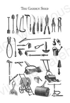 ANTIQUE GARDEN TOOLS - from the Garden Shed - Rustic Tool Chart - rakes,shovels watering can more for Digital Download, print