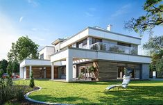 Projekt domu Willa Floryda 4 327,82 m2 - koszt budowy - EXTRADOM Storage Places, Modern House Design, Home Projects, Pergola, Mansions, House Styles, Home Decor, Products, Home Plans