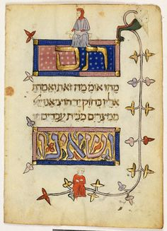 from the JTS library: the Prato Haggadah - Folio 6v — The simple son and the son who does not know how to ask
