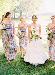 Florals make a splash at any outdoor wedding and break up the monotony of solid colors.