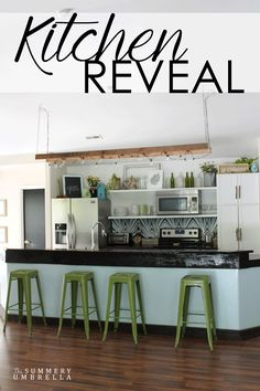 Looking for ideas for a bright and colorful kitchen, but with lots rustic decor? Check out my kitchen reveal where I combine both!