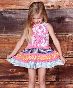 Another great find on #zulily! Pink Floral Chloe Tiered Dress - Infant, Toddler & Girls #zulilyfinds