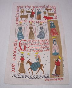 Vintage Christmas Towel Mid Century Birth of by unclebunkstrunk
