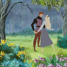 aurora sleeping beauty prince philip princess couple woods
