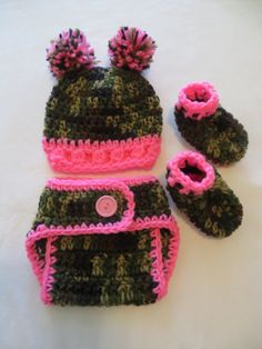 New Crocheted CAMO Hat-Diaper Cover-Booties/PHOTO PROPS/ Choice of Pink or Blue Trim on Etsy, $24.95