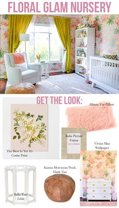 A dash of glam and a whole lot of floral. Make your baby girl's nursery unique with our exclusive Vivian Mae Wallpaper, Rifle Paper Co Prints and exuberant elements.