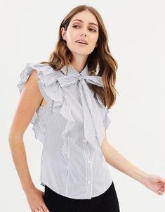 76f62329851af Karen Millen Striped Bow Crisp Collared Blouse Frill Smart Shirt Top 8 - 12  New