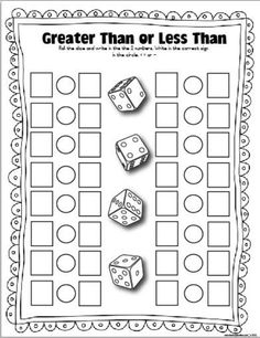 1.NBT.3_ Roll one or two dice (2 dice--represent tens, ones place). Greater than, less than or equal to.