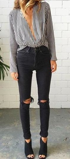 striped blouse + black ripped skinny jeans. heeled peep toe ankle boots.