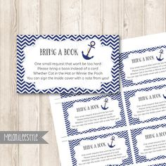 Nautical Book Request Insert, Bring A Book Instead Of A Card, Navy Blue, Anchor Baby