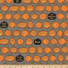 Price DROP : Witch Hazel October Afternoon Jack O Lanterns gray Riley Blake fabrics FQ or two Halloween Fabric, Halloween Skull, Halloween Themes, Halloween Pumpkins, Fall Halloween, Halloween Decorations, Witch Pumpkins, Halloween 2018, Halloween Wallpaper