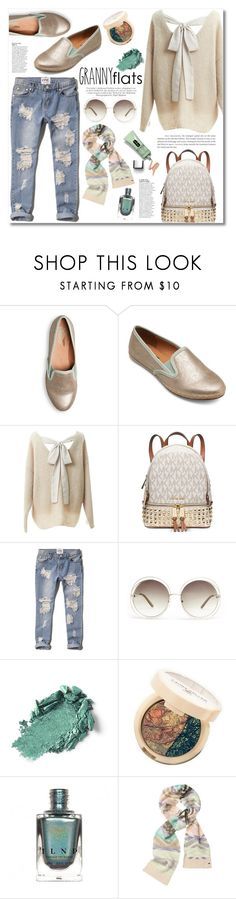 """""""Minty Granny Flats"""" by katrinaalice ❤ liked on Polyvore featuring moda, Relaxfeel, Michael Kors, Abercrombie & Fitch, Avenue, Chloé, Anja, Clinique, Laura Geller e Victoria's Secret"""