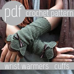 GORGEOUS patterns I want want want! PDF CROCHET PATTERN - open work layered wrist warmers cuffs via Etsy