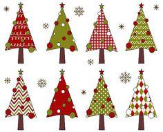 Christmas Trees Clip Art Xmas Trees Clipart by YarkoDesign on Etsy, $4.49