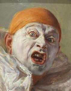 Clown with Orange Cap Startled | From a unique collection of portrait paintings at https://www.1stdibs.com/art/paintings/portrait-paintings/