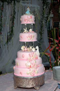 Pink and Ivory Sea Life Themed Wedding Cake