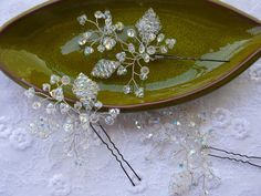 Bridal Hair Pins Wedding Accessories Bride Tiara Vine Handmade Swarovski Silver