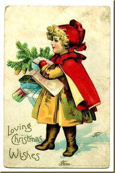 Vintage Christmas Postcard: Loving Christmas Wishes Images Vintage, Vintage Christmas Images, Old Christmas, Old Fashioned Christmas, Victorian Christmas, Vintage Holiday, Christmas Pictures, Christmas Wishes, Christmas Greetings