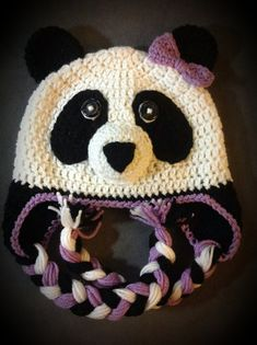 Panda crochet hat by jetaimeboutique83406 on Etsy