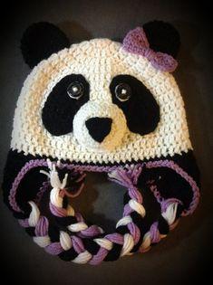crochet hats ideas Crochet Panda Hat by on Etsy - Crochet Animal Hats, Crochet Kids Hats, Knitted Animals, Crochet Beanie, Crochet Crafts, Crochet Yarn, Crochet Clothes, Crochet Projects, Knitted Hats