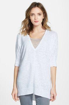 Women's Eileen Fisher Linen & Cotton Deep V-Neck Top (Regular & Petite ) (Online Only)