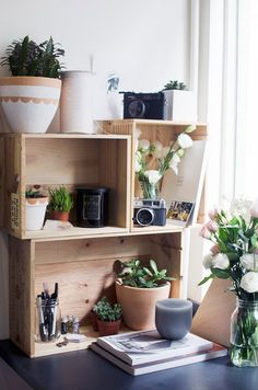 Items similar to Outdoor LIVING room wood shelf garden shelving patio furniture Reclaimed farm produce crate DIY wooden renewable resource storage shelves on Etsy Desk Shelves, Wood Shelves, Rustic Shelving, Crate Bookshelf, Bookshelf Ideas, Shelving Ideas, Open Shelves, Wine Box Shelves, Wine Boxes