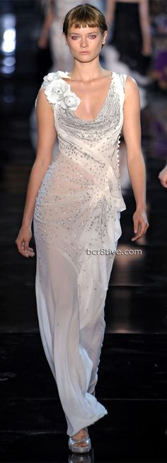 Delicate Swooping neckline on a shimmering sheer gown. by John Galliano Spring Summer 2012 Ready To Wear