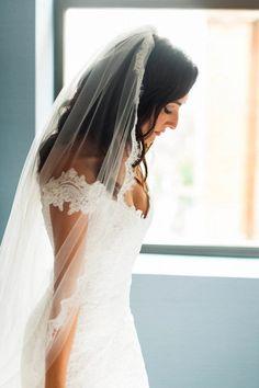 Vintage lace off-the-shoulder dress | Photo by M2 Photography via http://junebugweddings.com/wedding-blog/classy-elegant-hotel-monaco-wedding/