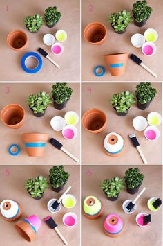 step by step instructions on how to neon dip clay pots :: armelle blog ::: neon dipped succulent pots ...