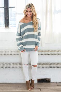 V Neck Striped Sweater - Slate/Ivory - Magnolia Boutique