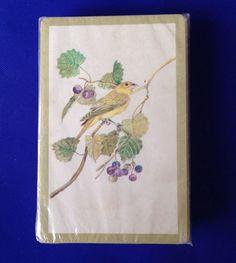 Sealed VTG Deck Playing Cards Yellow Bird Goldfinch Gold Trim Stardust Nu Vue