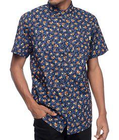 ba76da21fac Dravus Ditsy Floral Navy Short Sleeve Button Up Shirt