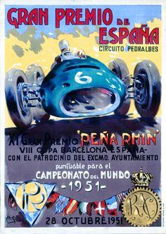 1951 Spanish Grand Prix poster #F1 #SpanishGP #Barcelona