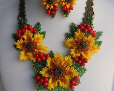 Beaded necklace Flowers decorated Beaded jewelry set Flowers poppies Weaving flowers Ukrainian ethnic Poppies Ukrainian Red necklace Jewelry Flowers Red Poppy necklace Set jewelry Red flowers necklace Real floral necklace  A brilliant and original handmade necklace that magnificently decorated with beaded flowers made of Czech, Japanese beads and faceted glass will be a great gift for same original and bright personality.  The metal clasp, with which fastens the necklace can adjust its…