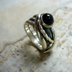 Sterling Silver Ring Silver Wire Wrapped Ring Onyx by Ellishshop, $121.00