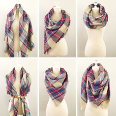 6 Ways To Wear A Blanket Scarf, How to tie a blanket scarf, plaid scarf - visit StylishPetite.com for full tutorial or simply click the photo above!