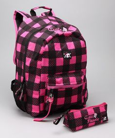 Look at this #zulilyfind! Hot Pink & Black Plaid Backpack & Pencil Case #zulilyfinds