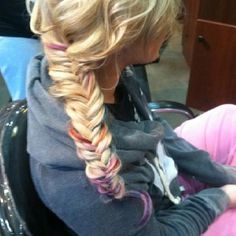Chelsea Houska from Teen Mom hair. I love the tie dyed tips, and also the fish tail braid, very cute. Tie Dye Tips, Dyed Tips, Dip Dye Hair, Dye My Hair, Dip Dyed, Mom Hairstyles, Pretty Hairstyles, Love Hair, Great Hair
