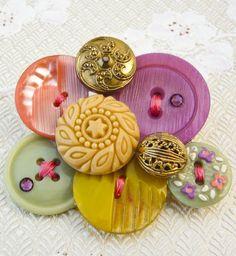 vintage button brooch