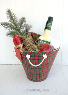 Repurposed lamp shade - made into a gift basket! Great idea!