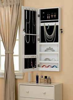 Amazon.com   White Wall/Door Mount Mirrored Jewelry Cabinet Makeup Armoire  Storage