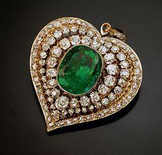 Antique Victorian Era Emerald and Diamond Heart Shaped Pendant