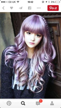 korean women wigs with bangs cheaps full taro wig curly long light purple wig natural hair heat resistant synthetic wigs cosplay Pretty Hairstyles, Girl Hairstyles, Easy Hairstyles, Simple Hairdos, Scene Hairstyles, Kawaii Hairstyles, Purple Wig, Purple Ombre, Pastel Purple