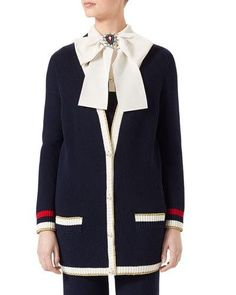 GUCCI Embroidered Oversized Knit Cardigan, Dark Blue. #gucci #cloth #