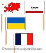 European Flags: Pin Map Flags (color coded) - Printable Montessori Geography Materials by Montessori Print Shop.
