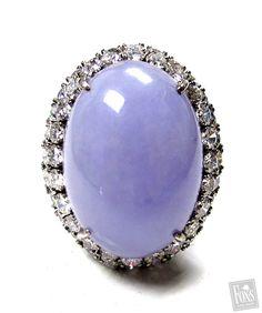 Lavender Jade (16.74ct) & Diamond (3.84ct) Ring - love lavender jade...